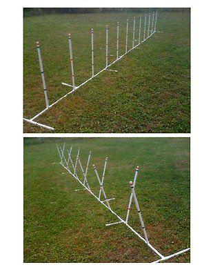 Dog Agility Equipment 12 Weave Poles Adjustable Angle and Spacing
