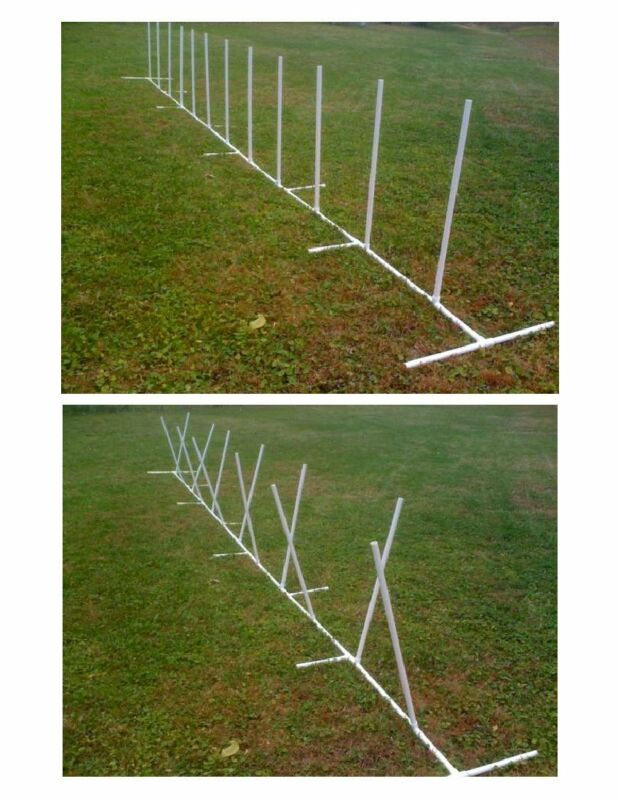Dog Agility Equipment  12 Weave Poles  Adjustable Spacing and Angle for Training