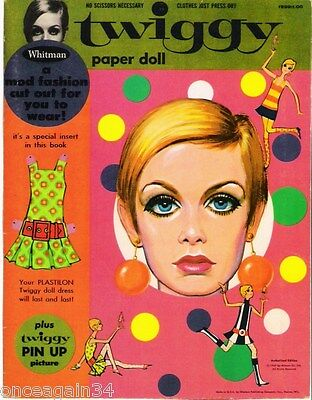 VINTAGE UNCUT 1967 TWIGGY PAPER DOLLS REPRODUCTION~MADE FROM ORIGINAL~FANTASTIC!