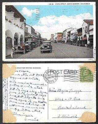 1933 California Postcard - Santa Barbara - State Street Scene