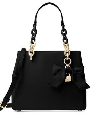 New Michael Kors Cynthia Small North South Satchel leather black bag (Michael Kors Cynthia Small North South Satchel Black)