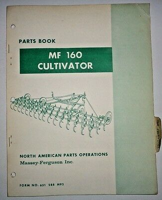 Massey Ferguson Mf 160 Cultivator Parts Catalog Manual Book Original