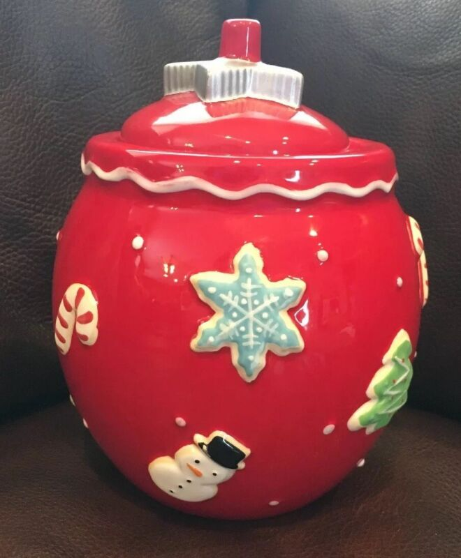 Hallmark Christmas Red Cookie Cutter Jar Canister Ceramic EUC