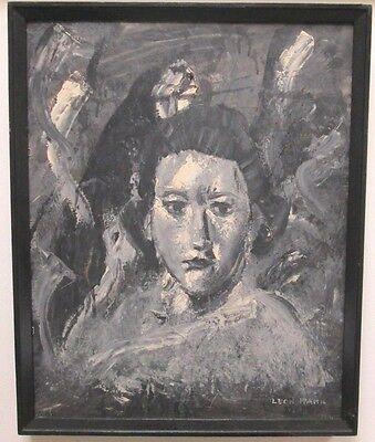 LEON KAHN POST IMPRESSIONIST BLACK & WHITE PORTRAIT OF WOMAN Black White Portraits Women