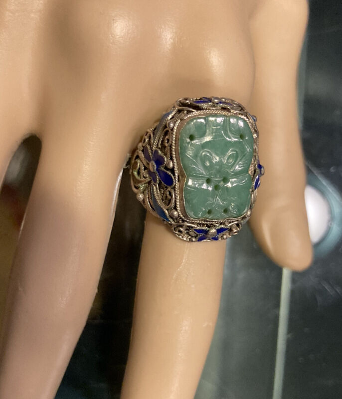 Antique Chinese 19thc Silver Enamel  Carved  Green Jade Ring Adjustable Size 9