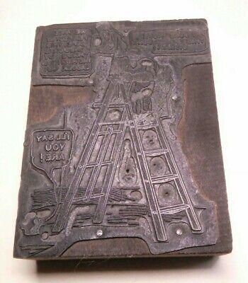 Vintage Printing Letterpress Printers Block Ladder Michigan Cartoon Ypsilanti 7