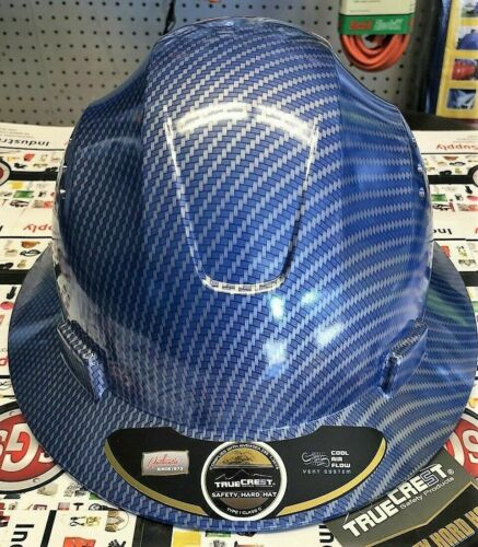 Hydro Dipped Blue,  Brim Hard Hat with  Fas-trac Suspension