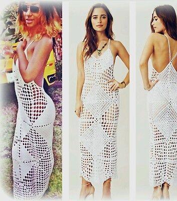 Lace♡Crochet♡Vintage Style♡Celebrity Bodycon Long Summer Dress ♡NEW♡Bohemian♡ (Celebrity Beach Style)