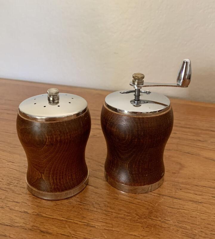 """Vintage Mid Century Wood Salt Shaker & Pepper Mill 3.5"""" George S Thompson EUC"""