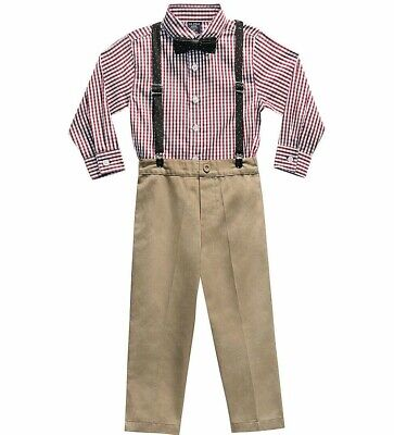 Boys plaid dress shirt outfit 4 5 6 NWT khaki pants suspenders red Christmas tie