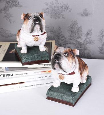 Bull Buchstützen (Zwei Buchhalter Englische Bulldogge Buchstützen Hunde Hundefigur Buchständer neu)