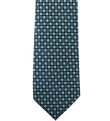 Turquoise Blue and Black Dotted Grid-Box Men's Woven Necktie Microfiber Handmade - Grid Microfiber Tie