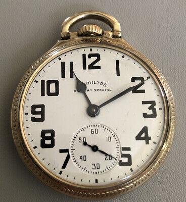 1951 Hamilton 992 B Railroad Grade Pocket Watch 16S 21J 10k Rolled Gold Case #7