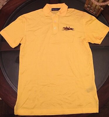 Ralph Lauren Purple Label Jockey Logo Shirt Polo Yellow Made In Italy Brand New