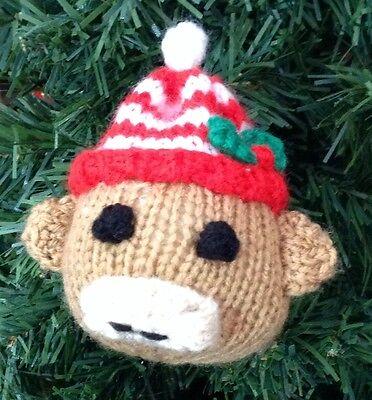 KNITTING PATTERN - Sock Monkey Christmas Bauble 9 cms tree decoration ()