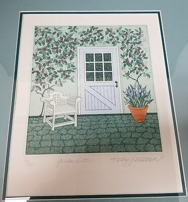 Kathy J Mitcham Watercolor Garden Door Framed Pencil Signed Numbered 14 200