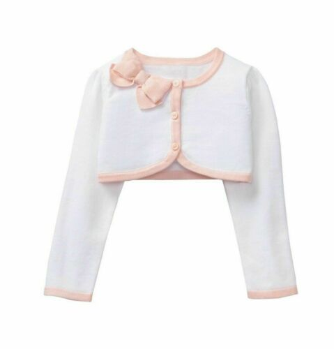 NWT Janie and Jack Girls Cropped White Cardigan with Pink Trim & Bow (Size: 2T)