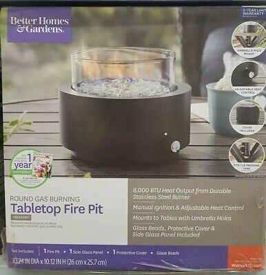 BETTER HOMES AND GARDEN ROUND GAS PROPANE BURNING TABLETOP FIRE