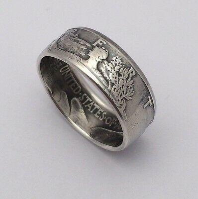 Handmade Silver Coin Ring-Walking Liberty Half Dollar-Sizes 6-13