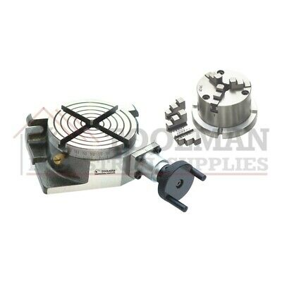 New Rotary Table 4 100mm Horizontal And Vertical 80mm 3 Jaw Chuck