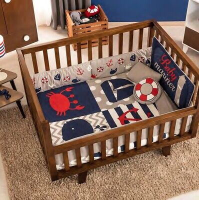 BOAT ANCHOR WHALE SEA BABY BOYS CRIB BEDDING SET 6PCS 100% COTTON FOR GIFT