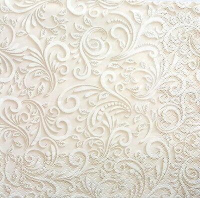 4 Single Lunch Paper Napkins for Decoupage Craft Vintage Cream Beige Lace - art3