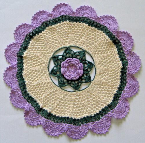 "New Hand Crocheted Doily Chrysanthemum 12.5"" Violet Cream Green Handmade US"