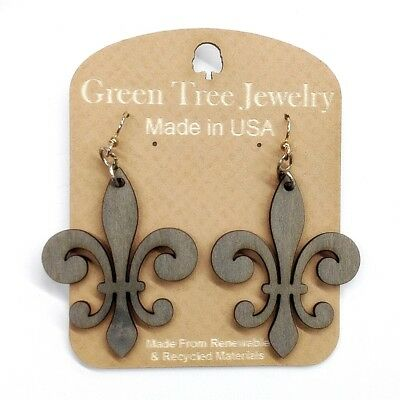 Earrings - Fleur de Lis Design - Lazer cut wood - Medium Gray Color - Unique ()