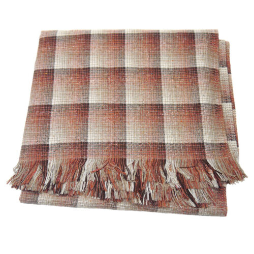 "1970s Vintage Wool Fabric Coarse Rustic Brown Block w/ Fringe 1.5yds (59"" x 55"")"