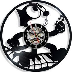 Felix the Cat Cartoon Vinyl Wall Clock Record Gift Decor Sing Feast Day Art