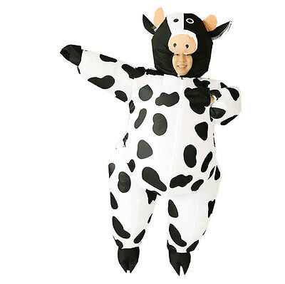 Adult Inflatable Cow Costume Animal Mascot Air Blowup Fancy Dress Halloween Suit - Cow Blow Up Costume