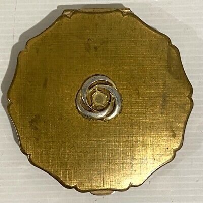 Vintage Powder Compact Stratton, Gold Tone, 1960s, Note - Missing Stone on Lid
