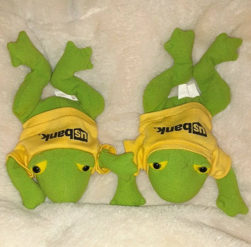 Lot Of 2 US Bank Promo Items Plush Green Frogs with Beanbag Bodies