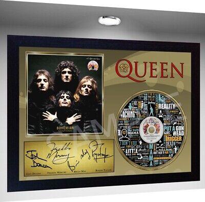 QUEEN Freddie Mercury MUSIC BOHEMIAN RHAPSODY SIGNED FRAMED PHOTO CD Disc