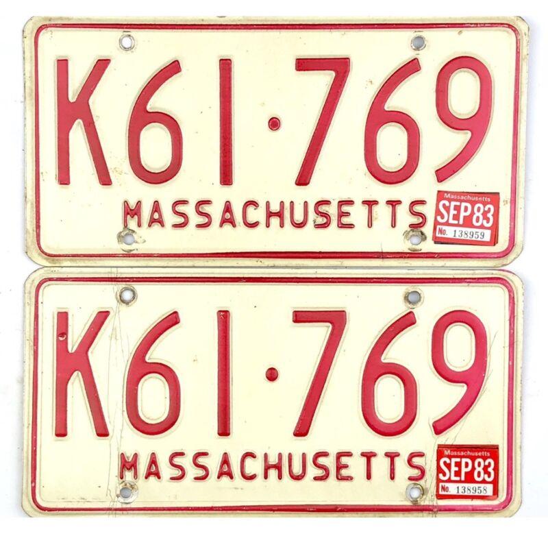 1983 Massachusetts License Plate PAIR #K61-769