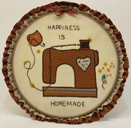 Vintage Happieness Is Home Made Cross Stitch One Of A Kind. - $2.99