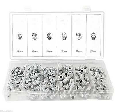 New 110pc Hydraulic Lubrication Lube Grease Fittings Assortment Zerk Fitting Sae