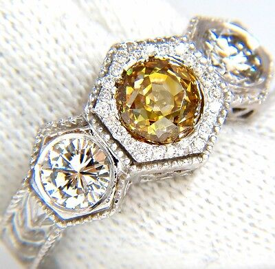 GIA 2.30CT FANCY YELLOW BROWN DIAMONDS RING 18KT EDWARDIAN CROWN DECO+