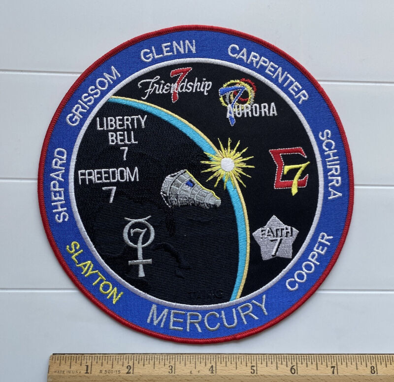 """Project Mercury NASA Missions Large 7.75"""" Round Embroidered Commemorative Patch"""