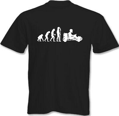 Evolution der Go Kartsport - Herren Lustiges T-Shirt Go Kart Karter