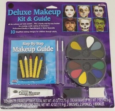 Halloween Make Up Deluxe Makeup Kit & Guide 10 Designs Halloween Costume Cream.  - Make Halloween Makeup
