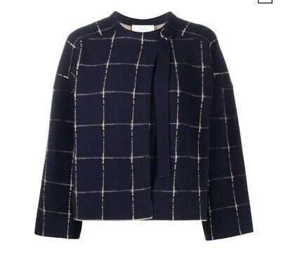 CHLOÉ Grid-print Merino Wool & Cashmere Jacquard Jacket In Brown M $1424 MSRP