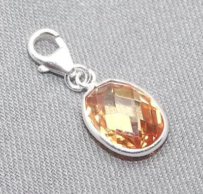 925 Sterling Silber Charm Bettelarmband Charms Anhänger Zirkonia oval braun Etui