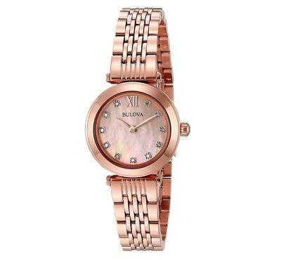 Bulova Women's 97P116 Quartz Diamond Markers Rose Gold Bracelet 24mm Watch
