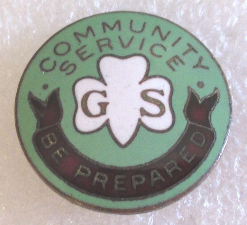 Antique Girl Scout Community Service Pin Badge - Super RARE! Scouts