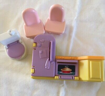 Fisher Price Dollhouse Furniture Mattel Kitchen Fridge Oven Sink Toilet Chairs