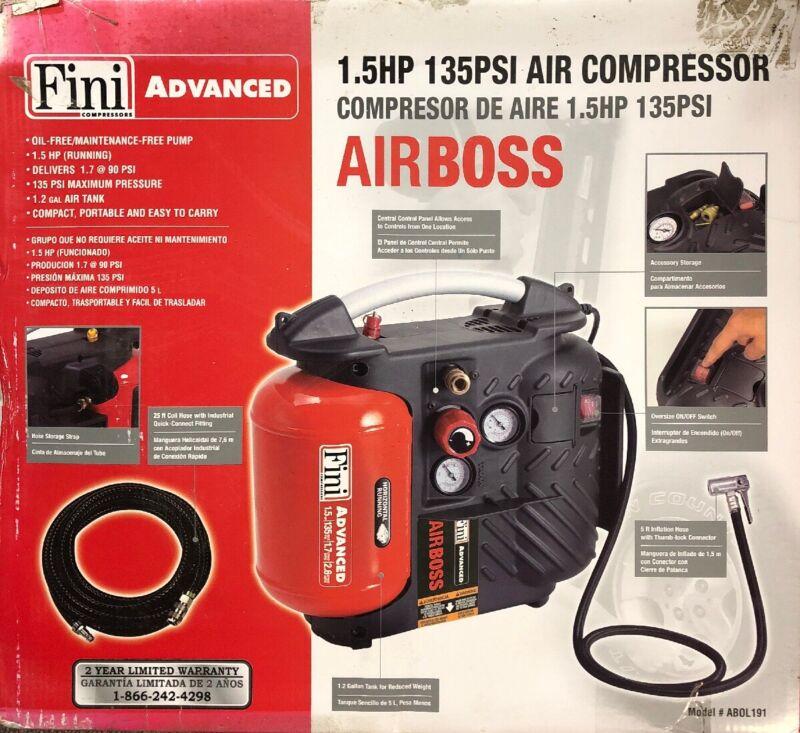 NEW Fini Advanced AIRBOSS 1.5 HP 135PSI Air compressor / slightly shelf wear box