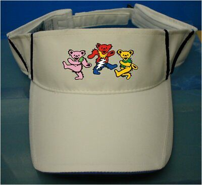 Dancing Bears Grateful Dead Visor Style White hat for all activities](Dance Hat)