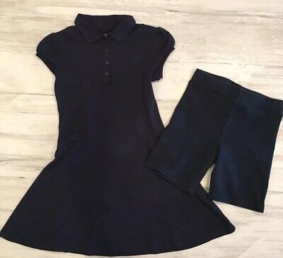 Girls' Nautica Short-Sleeve School Uniform Polo Dress & Bike Shorts, Navy Sz8-10