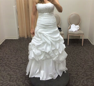 Strapless Taffeta Gown with Pick Up Swirl Skirt DAVIDS BRIDAL